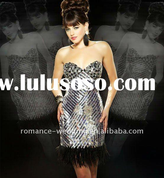 DF0152 Sparkly Sweetheart Sequins Short Feather Prom Dress