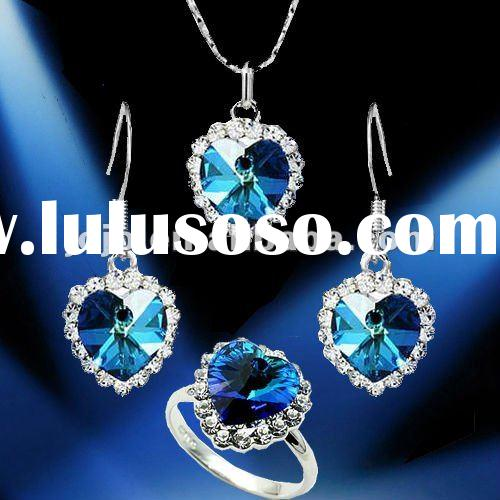Fashion royal blue crystal jewelry necklace sets of 4 piece