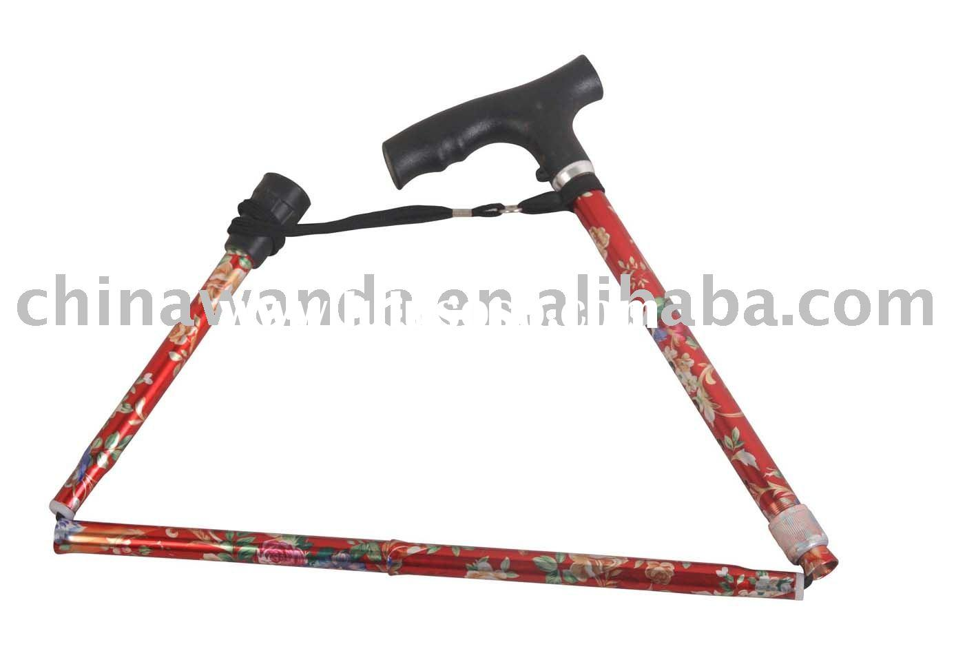 Five-section floral folding walking stick