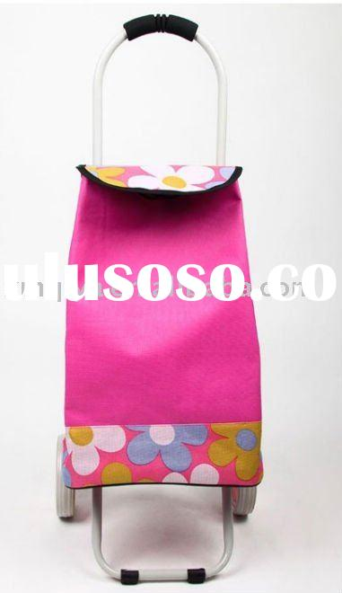 Flowers Trolley Shopping Bag With Wheels,600D hot design shopping wheeled bags,shopping cart bag