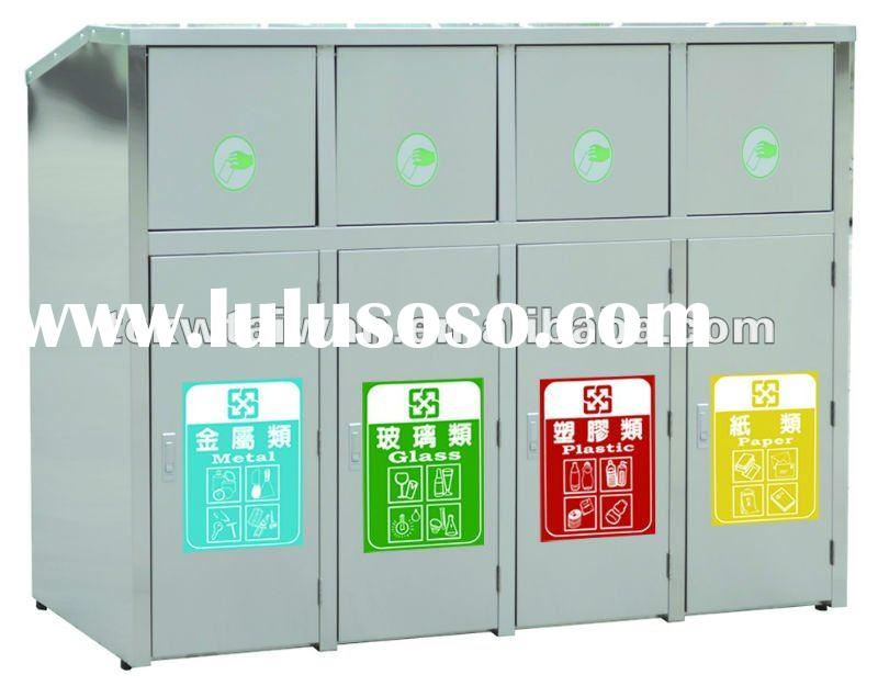 Four-Compartment Stainless Steel Recycle Bin