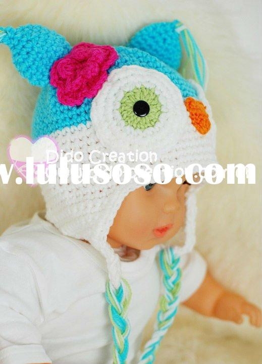 H05C063B2 Handmade fashion Crochet Baby Animal Hats cap Beanie flower animal new born baby gifts ear