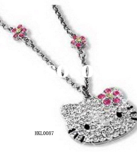 Hello Kitty necklace / fashion jewelry/ alloy pendant /enemal pendant /diamond accessory