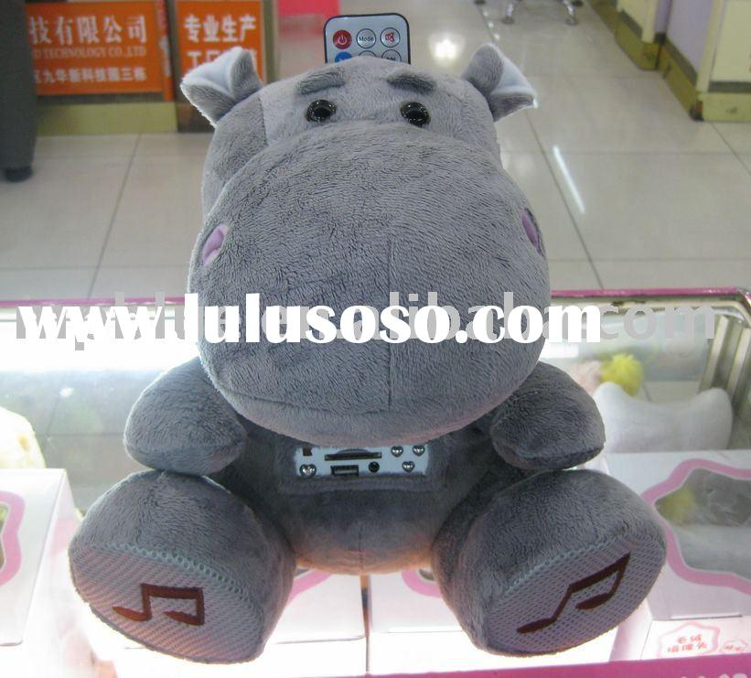 Hippo Style Plush Toy Speaker with Remote control, Support SD Card and USB, Built-in Rechargeable Li