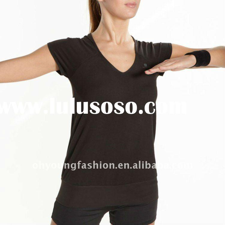 Hot!!! women black short sleeve t-shirt/lady V neck type blank tight t-shirt