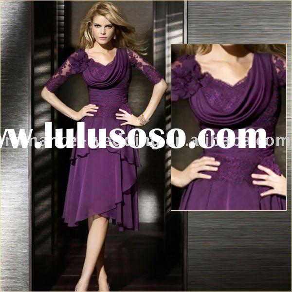 LS0065 Beautiful Short Sleeve Cowl Back Evening Dress