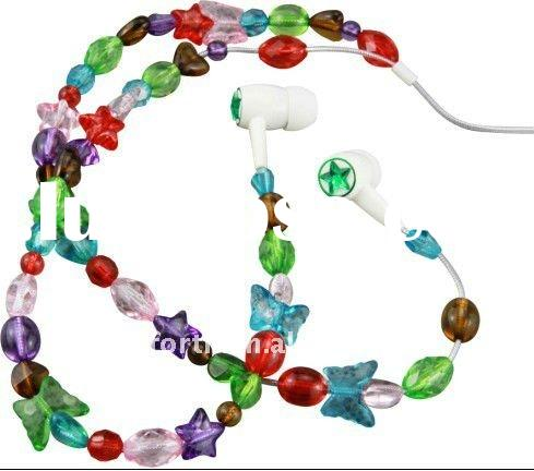 Necklace wired earphone with kinds of color crystal beads