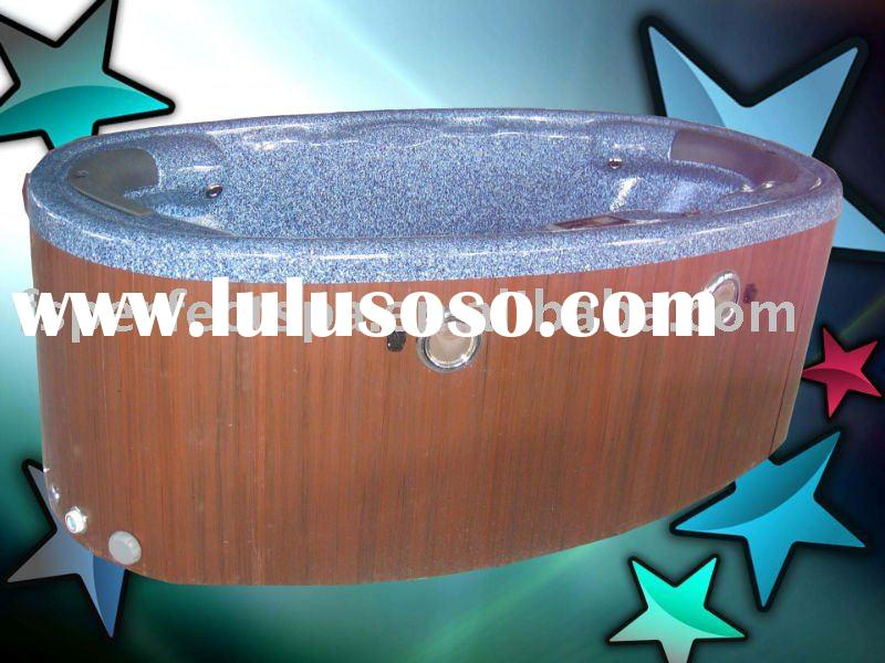 Oval shaped hot tub