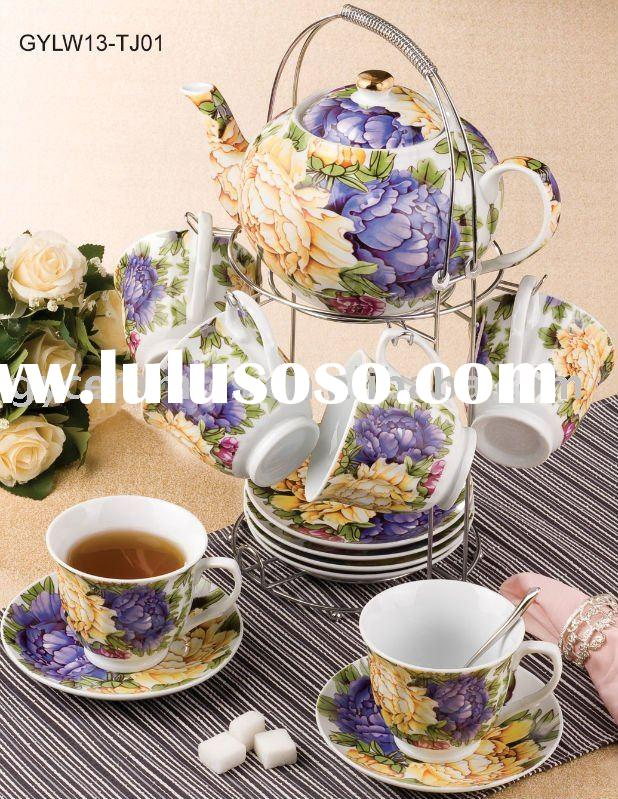 Porcelain pot with cup and saucer in color box
