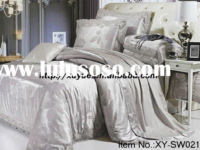 Professional Manufacturer 8pcs king size jacquard silk/satin bedding set stock XY-SW021