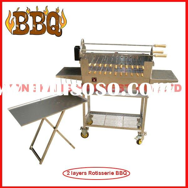 Quality Charcoal Rotisserie Stainless Steel BBQ Grill with four wheels