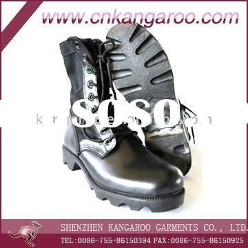 black genuine leather steel toe security boots