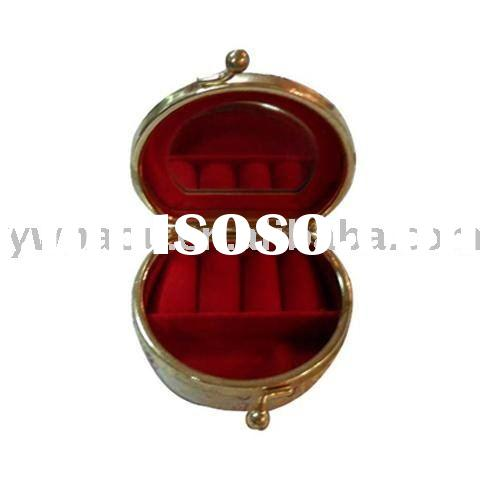 brocade fashion ladies mini jewelry box with mirror trinket case ring box