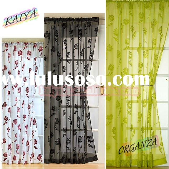 flower flocked cheap organza curtain fabric