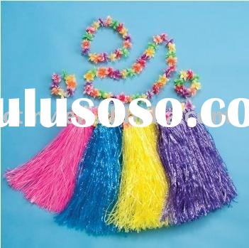 hawaiian flower lei and hula dance skirt