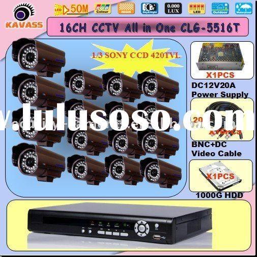 ir waterproof cctv camera and 16ch standalone h.264 dvr cctv security system