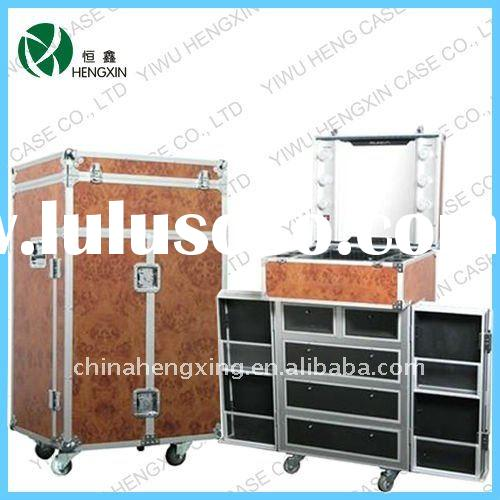 lighted makeup cases with drawer,aluminum cosmetic case with stand