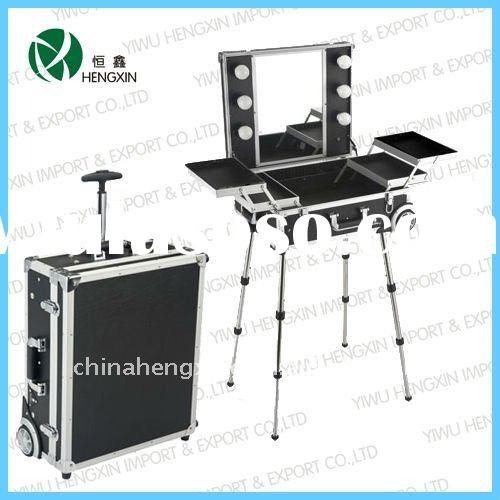 lighting makeup case with stand light up cosmetic case