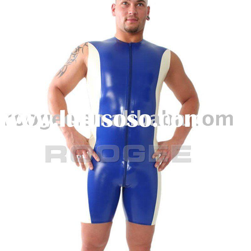 men's latex bodysuit w/o sleeves