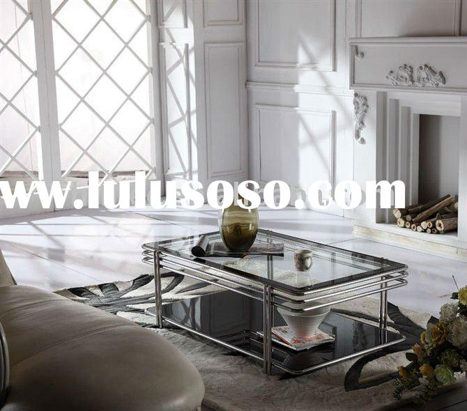 modern coffee table with tempered glass top and staniless steel frame