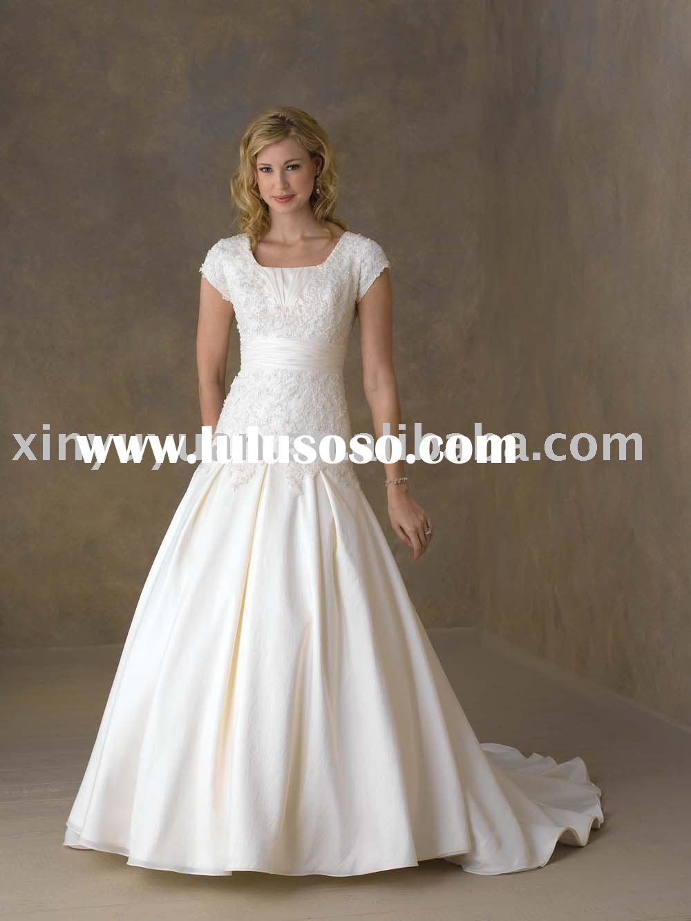 modest plus size custom short sleeves wedding dresses BOW-104