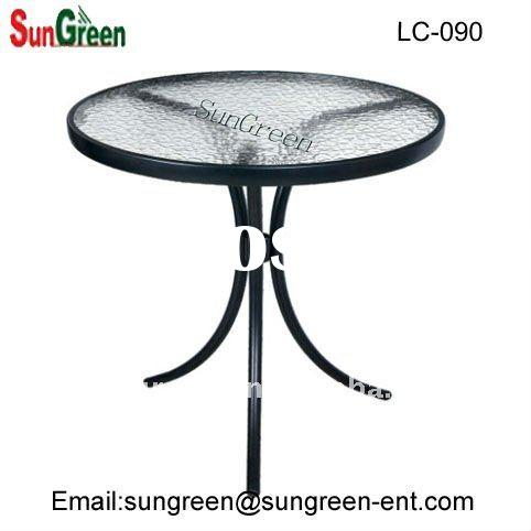 stainless steel outdoor table with glass top