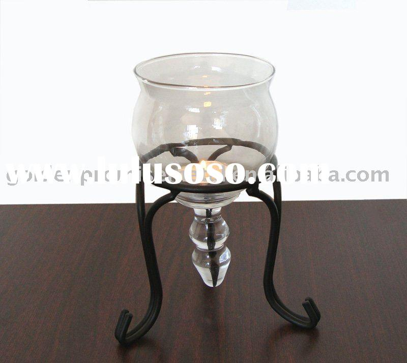 tear drop glass tripod shaped candle holder with glass cone