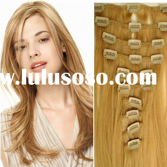 wholesale fashion high quality 14# 18 inch indian hair wavy clip on hair extensions