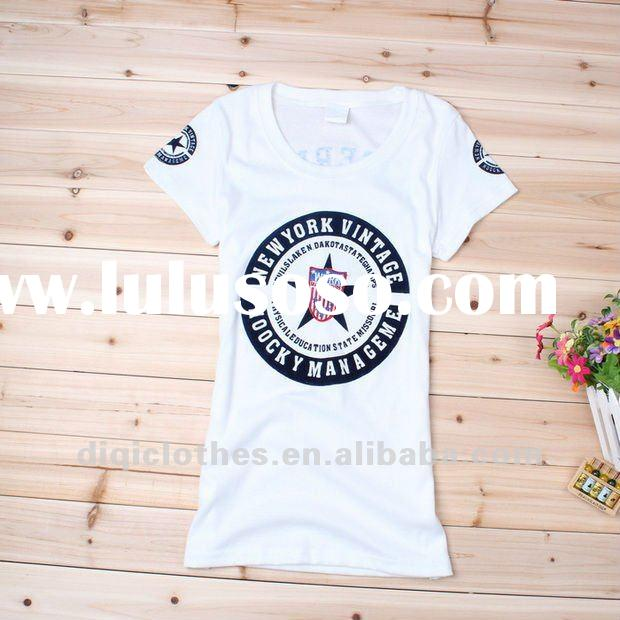 2012 women fashion newest design shortsleeve plain printing white t shirts