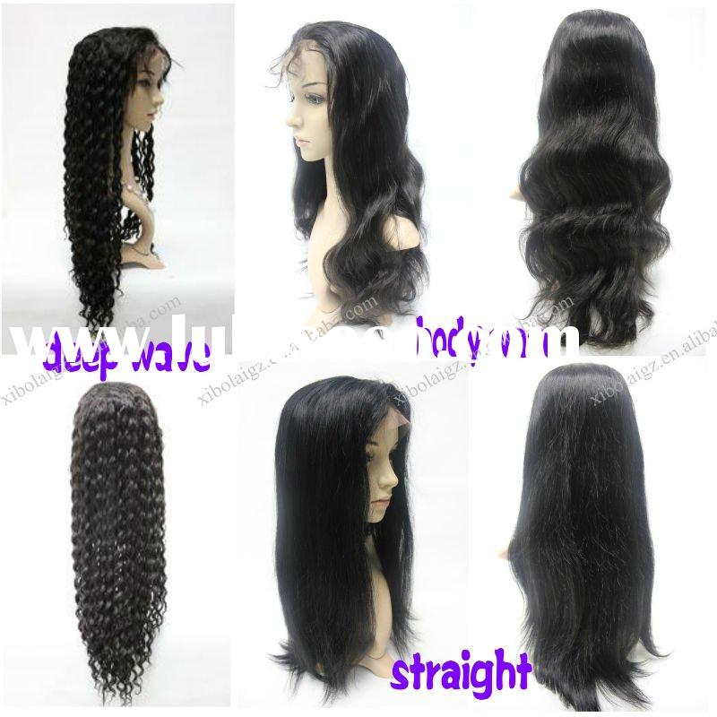 Beauty and fashion full lace wig human hair/lace wig/different texture