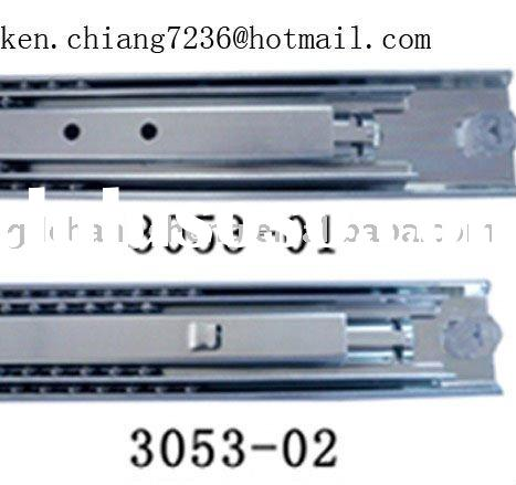 China Foshan factory 53mm 3-fold #3053 full extension ball bearing heavy duty drawer slider with bay