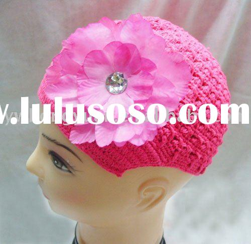Crochet beanie newsboy beanie hat with flower clip