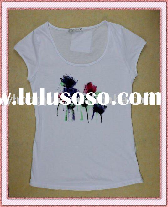Fashion 100% Cotton Flower Printed Women's White T-shirts