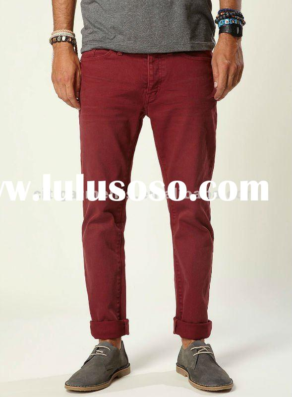 Fashion Men's Burgundy Stretch Skinny Jeans /skinny jeans for men