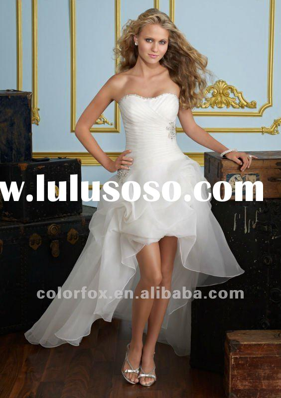 Fashionable Crystal Beading Front Short & Long Back Beach Wedding Dress