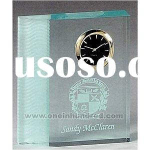 "Frosted Wave Series - 4"" x 4 1/2"" x 1"" - Jade frosted acrylic award clock with a wide"