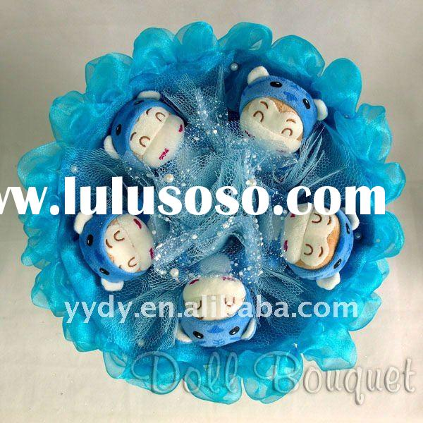 Gorgeous Valentine's day gift blue plush monkey bouquet valentine gift