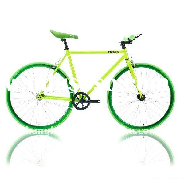 HH-FG1120 Green fixed gear bike with green frame and rim