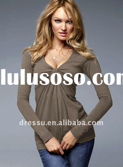 Knot-front Long Sleeve Plain t shirts, Fashion Women Clothing,
