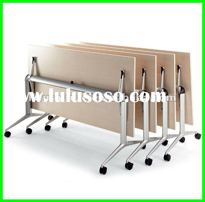 Metal Flip Top Training Table With Casters