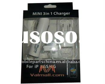 Mobile phone mini 3 in 1 charger for iphone 3gs/4g good quality China supply portable cell phone acc