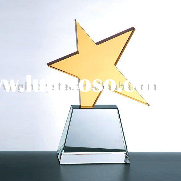 Optical Crystal Gold Super Star on Clear Base Award