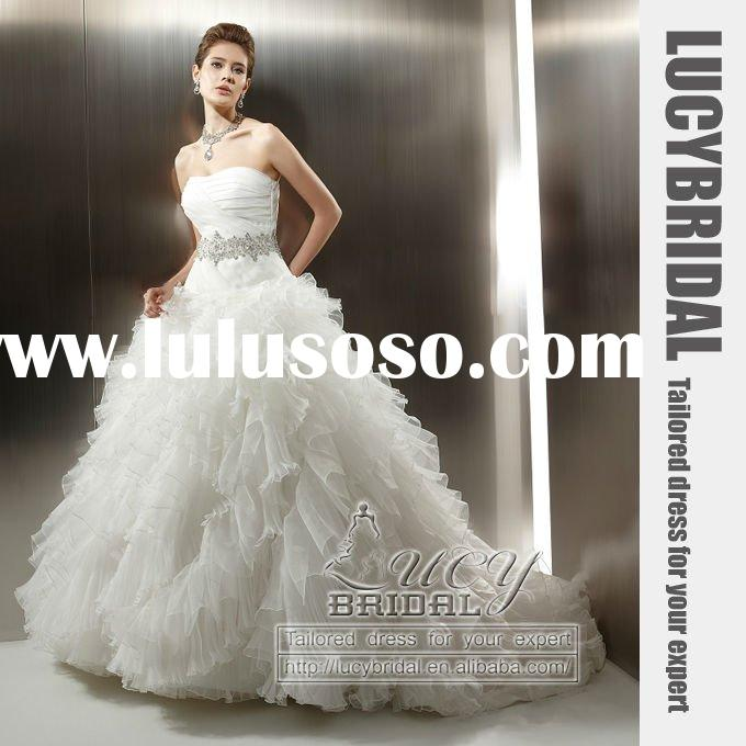 Royalty Ball Gown Ruffle Organza Beaded Wedding Dress HS2768