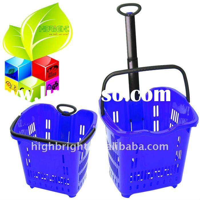 blue laundry basket with wheels 45L