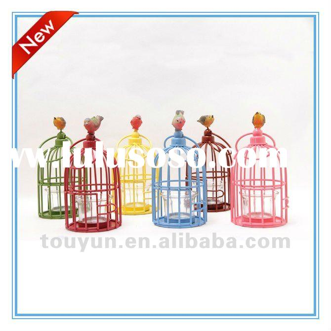 colorful spring bird cage hand painted glass candle holder