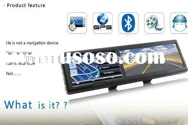 good news!2011 new style 4.3 inch bluetooth car rear view mirror monitor with gps,4G SD map card