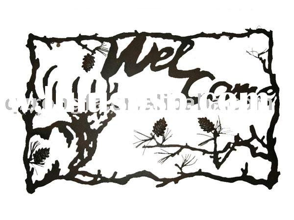 laser cutting metal arts with welcome sign as home decor items