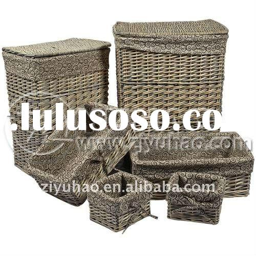 100% Handmade Natural 6pcs Coffee Laundry Basket with lid