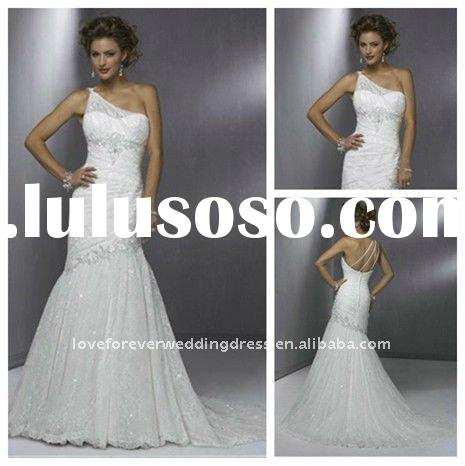 2011 Ivory One-Shoulder Mermaid Style Wedding Dress Lace