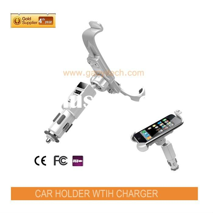 2011 new design high quality for iphone car holder with USB charger slot